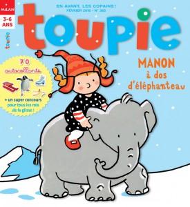 Toupie : Manon à dos d'éléphanteau - Février 2016