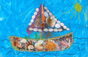Concours Toupie, dessine un bateau en coquillages : Agathe