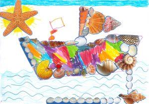 Concours Toupie, dessine un bateau en coquillages : capucine