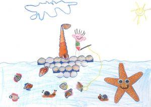 Concours Toupie, dessine un bateau en coquillages : louis