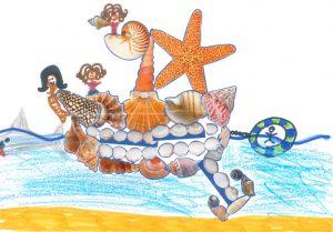 Concours Toupie, dessine un bateau en coquillages : louise