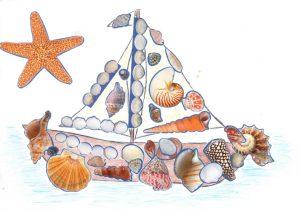 Concours Toupie, dessine un bateau en coquillages : margaux