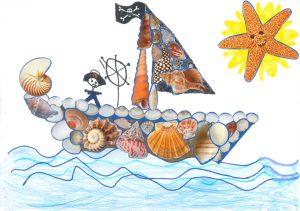 Concours Toupie, dessine un bateau en coquillages : noe