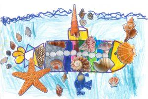 Concours Toupie, dessine un bateau en coquillages : pablo