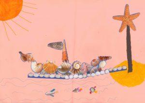 Concours Toupie, dessine un bateau en coquillages : timothy