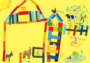 Cocorico ! Tout en haut du toit, dans la jolie ferme de Léonie, le coq réveille les animaux.