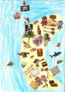 Merci, Chloé, pour ton île en forme de lune. Quelle bonne idée !