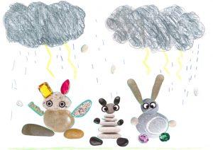 Les cailloux de Charles n'ont peur de rien : pas même de la pluie et des éclairs !