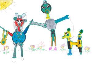 Eva, on adorerait se promener avec ta famille robot et son toutou.