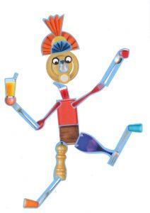 Quel talent, en équilibre sur un pied, le bonhomme de Valentine sert jus d'orange et café !
