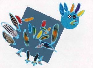 Bravo, à Liam et Elina, qui avec un carré, un rond et quelques plumes ont su créer un beau perroquet !