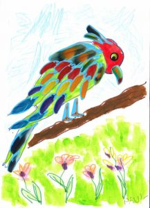 Sur son arbre perché, admirez le bel oiseau imaginé par Paul !