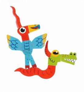 Un oiseau-licorne qui se balade à dos de croco-serpent, voilà un mode de transport étonnant, Eugénie !