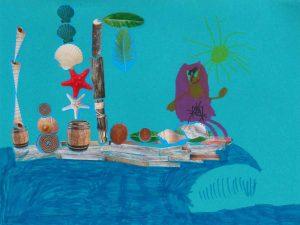 Coquillages, noix de coco, tonneau d'eau… l'aventurier d'Avril part en expédition avec le plein de provisions !