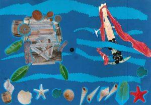 C'est fatigant de nager ! Petite sirène, grimpe vite sur le radeau de Gaspard pour te reposer.
