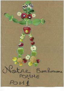 Wouah, votre bonhomme pomme est géant, Charlotte, Romane et Mathilde !