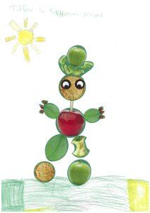 Lucie, on a adoré ton bonhomme pomme avec son petit chapeau rigolo.