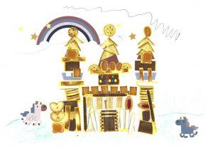 La famille Licorne est ravie ! Grâce à Lou, elle habite un joli château en biscuits.