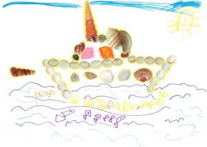 Ton bateau est suivi par plein de petits poissons, Louisa. Gloup, gloup !