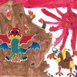 Ta grotte est fantastique, Gabriel ! Elle est habitée par un dragon et tous ses amis.
