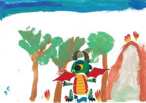 Le dragon d'Hugo est bien décidé à aller chasser dans la forêt. Tous aux abris !