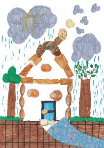 Il pleut ! Rentrons vite dans la jolie maison en petits pains d'Emma !