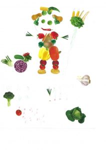 Ton bonhomme légumes jardinier et son potager sont très bien dessinés. Bravo, Éloïse !