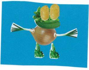 Ezequiel, ton bonhomme légumes est très rigolo. Il a une petite bouille de grenouille…