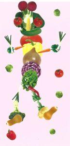 Wouah, ton bonhomme légumes géant est très réussi, Lalie !